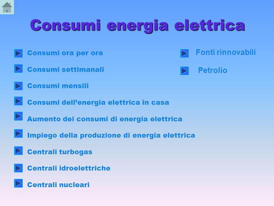 Consumi energia elettrica Consumi ora per ora Consumi settimanali Consumi mensili Consumi dellenergia elettrica in casa Aumento dei consumi di energia