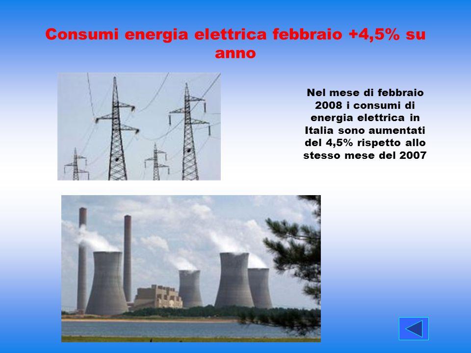 Consumi energia elettrica febbraio +4,5% su anno Nel mese di febbraio 2008 i consumi di energia elettrica in Italia sono aumentati del 4,5% rispetto a