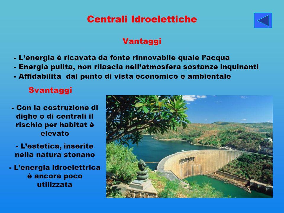 Centrali Idroelettiche Vantaggi - Lenergia è ricavata da fonte rinnovabile quale lacqua - Energia pulita, non rilascia nellatmosfera sostanze inquinan
