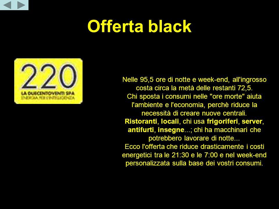 Offerta black Una settimana = 168 ore. Nelle 95,5 ore di notte e week-end, all'ingrosso costa circa la metà delle restanti 72,5. Chi sposta i consumi