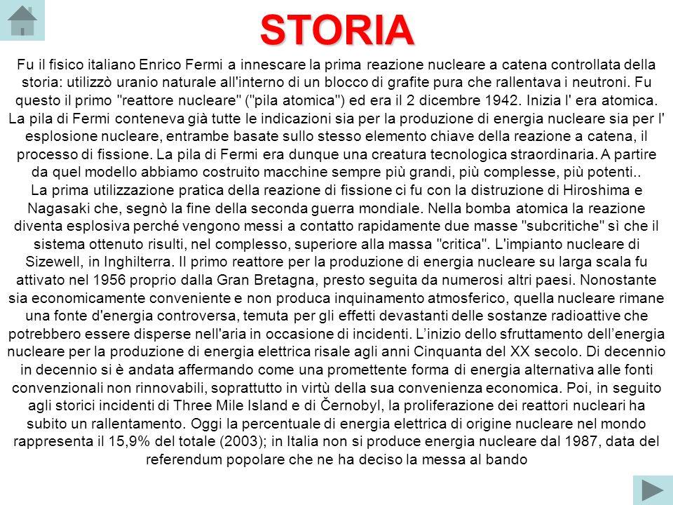 STORIA Fu il fisico italiano Enrico Fermi a innescare la prima reazione nucleare a catena controllata della storia: utilizzò uranio naturale all'inter