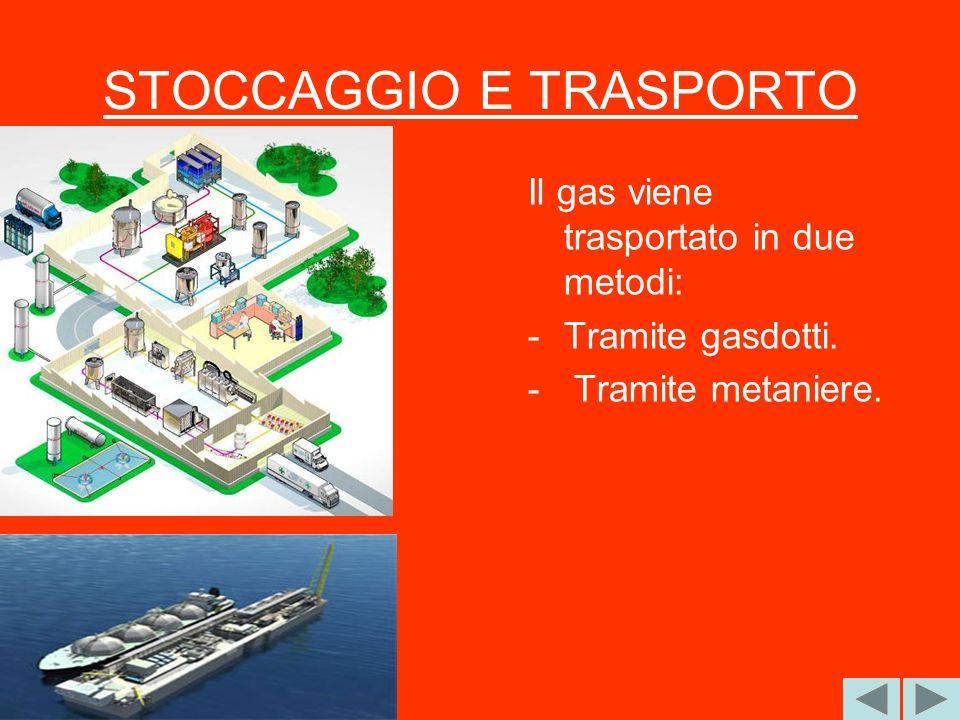 STOCCAGGIO E TRASPORTO Il gas viene trasportato in due metodi: -Tramite gasdotti. - Tramite metaniere.