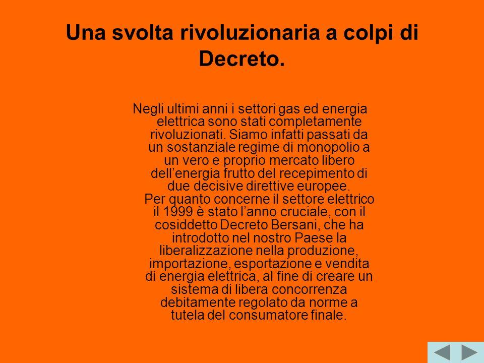Una svolta rivoluzionaria a colpi di Decreto. Negli ultimi anni i settori gas ed energia elettrica sono stati completamente rivoluzionati. Siamo infat