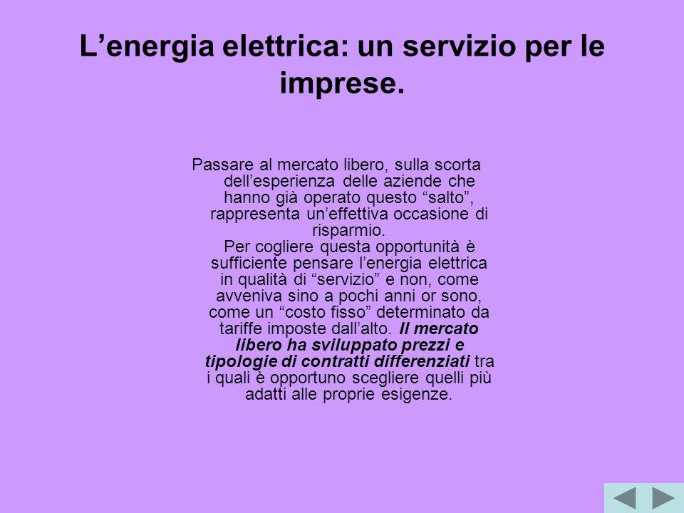 Lenergia elettrica: un servizio per le imprese. Passare al mercato libero, sulla scorta dellesperienza delle aziende che hanno già operato questo salt