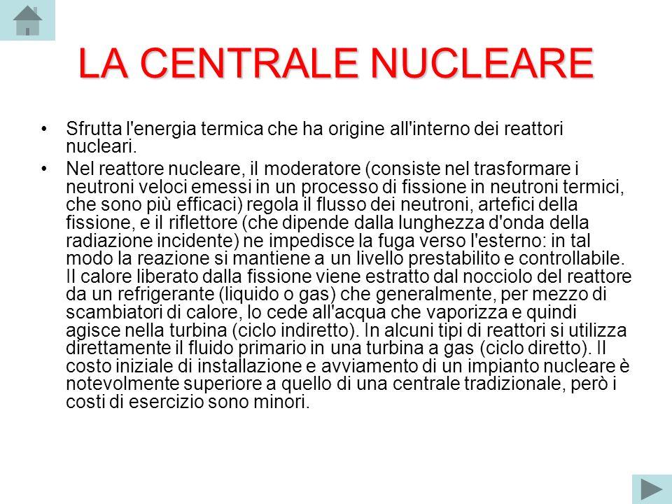 LA CENTRALE NUCLEARE Sfrutta l'energia termica che ha origine all'interno dei reattori nucleari. Nel reattore nucleare, il moderatore (consiste nel tr