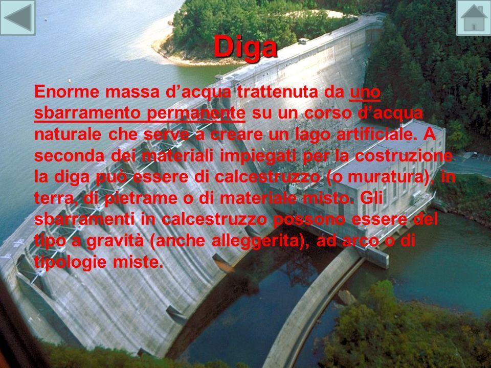 Diga Enorme massa dacqua trattenuta da uno sbarramento permanente su un corso dacqua naturale che serve a creare un lago artificiale. A seconda dei ma