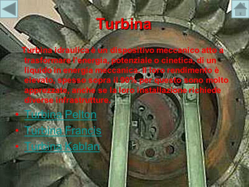 Turbina Turbina idraulica è un dispositivo meccanico atto a trasformare l'energia, potenziale o cinetica, di un liquido in energia meccanica. Il loro