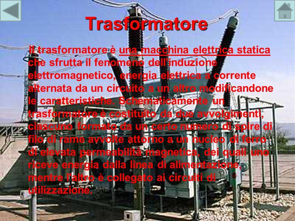 Trasformatore Il trasformatore è una macchina elettrica statica che sfrutta il fenomeno dell'induzione elettromagnetico, energia elettrica a corrente