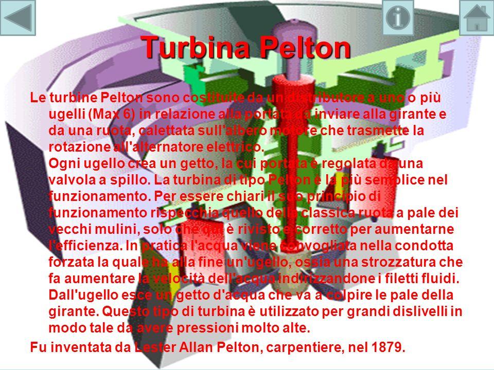 Turbina Pelton Le turbine Pelton sono costituite da un distributore a uno o più ugelli (Max 6) in relazione alla portata da inviare alla girante e da