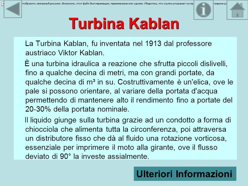 Turbina Kablan La Turbina Kablan, fu inventata nel 1913 dal professore austriaco Viktor Kablan. È una turbina idraulica a reazione che sfrutta piccoli