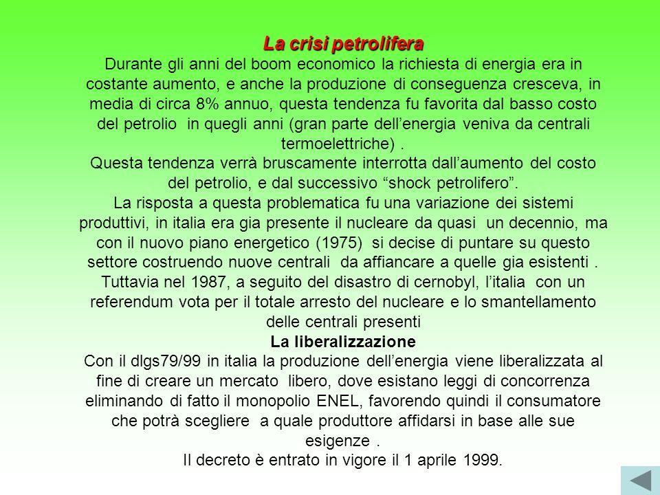 La crisi petrolifera Durante gli anni del boom economico la richiesta di energia era in costante aumento, e anche la produzione di conseguenza crescev