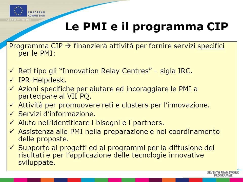 Le PMI e il programma CIP Programma CIP finanzierà attività per fornire servizi specifici per le PMI: Reti tipo gli Innovation Relay Centres – sigla I