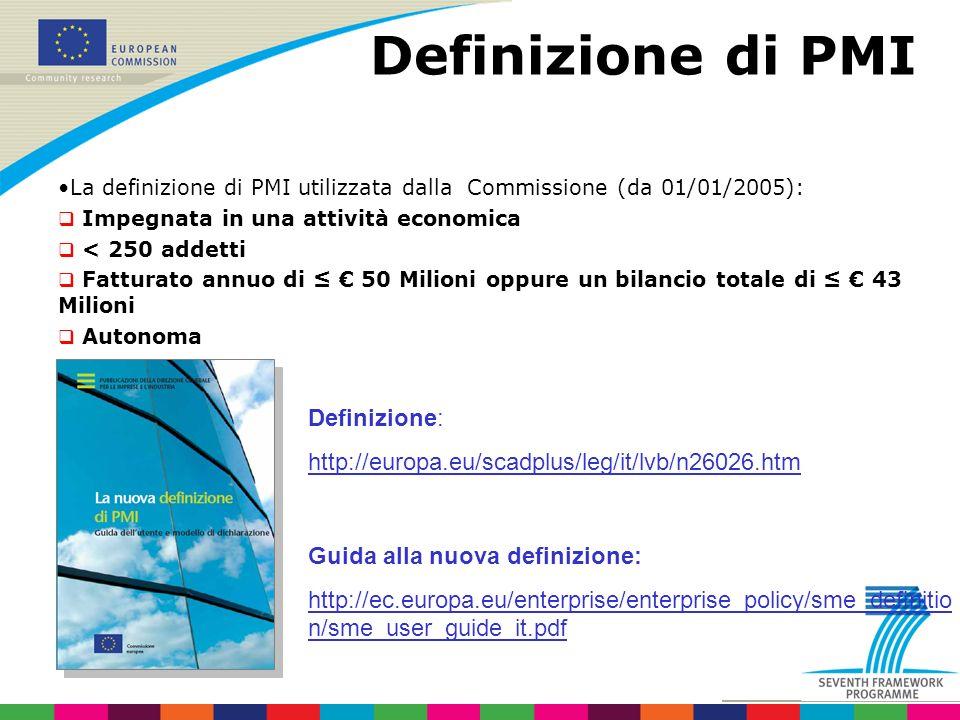Definizione di PMI La definizione di PMI utilizzata dalla Commissione (da 01/01/2005): Impegnata in una attività economica < 250 addetti Fatturato annuo di 50 Milioni oppure un bilancio totale di 43 Milioni Autonoma Definizione: http://europa.eu/scadplus/leg/it/lvb/n26026.htm Guida alla nuova definizione: http://ec.europa.eu/enterprise/enterprise_policy/sme_definitio n/sme_user_guide_it.pdf