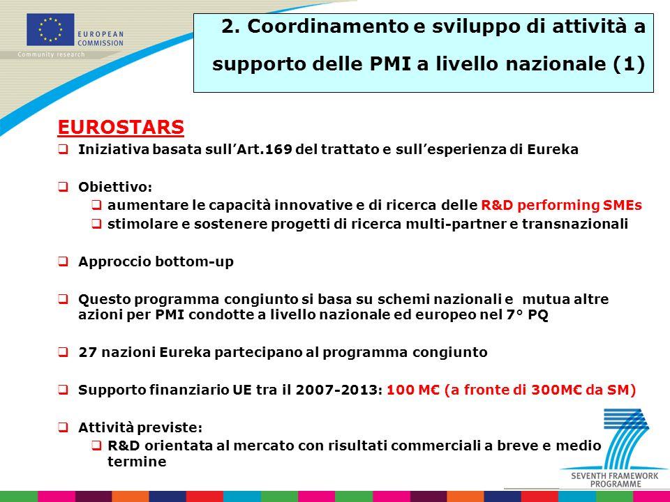 2. Coordinamento e sviluppo di attività a supporto delle PMI a livello nazionale (1) EUROSTARS Iniziativa basata sullArt.169 del trattato e sullesperi