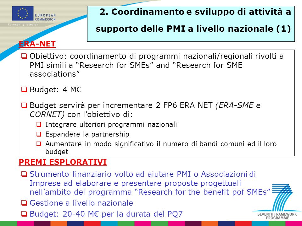 Obiettivo: coordinamento di programmi nazionali/regionali rivolti a PMI simili a Research for SMEs and Research for SME associations Budget: 4 M Budge