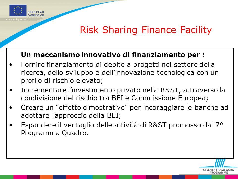 Risk Sharing Finance Facility Un meccanismo innovativo di finanziamento per : Fornire finanziamento di debito a progetti nel settore della ricerca, dello sviluppo e dellinnovazione tecnologica con un profilo di rischio elevato; Incrementare linvestimento privato nella R&ST, attraverso la condivisione del rischio tra BEI e Commissione Europea; Creare un effetto dimostrativo per incoraggiare le banche ad adottare lapproccio della BEI; Espandere il ventaglio delle attività di R&ST promosso dal 7° Programma Quadro.