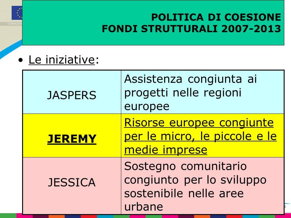 POLITICA DI COESIONE FONDI STRUTTURALI 2007-2013 Le iniziative: JASPERS Assistenza congiunta ai progetti nelle regioni europee JEREMY Risorse europee