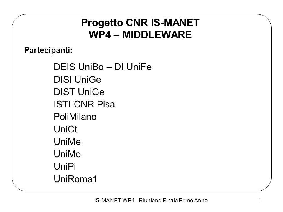 IS-MANET WP4 - Riunione Finale Primo Anno1 Progetto CNR IS-MANET WP4 – MIDDLEWARE Partecipanti: DEIS UniBo – DI UniFe DISI UniGe DIST UniGe ISTI-CNR P