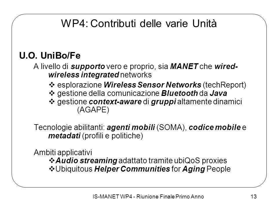 IS-MANET WP4 - Riunione Finale Primo Anno13 WP4: Contributi delle varie Unità U.O. UniBo/Fe A livello di supporto vero e proprio, sia MANET che wired-