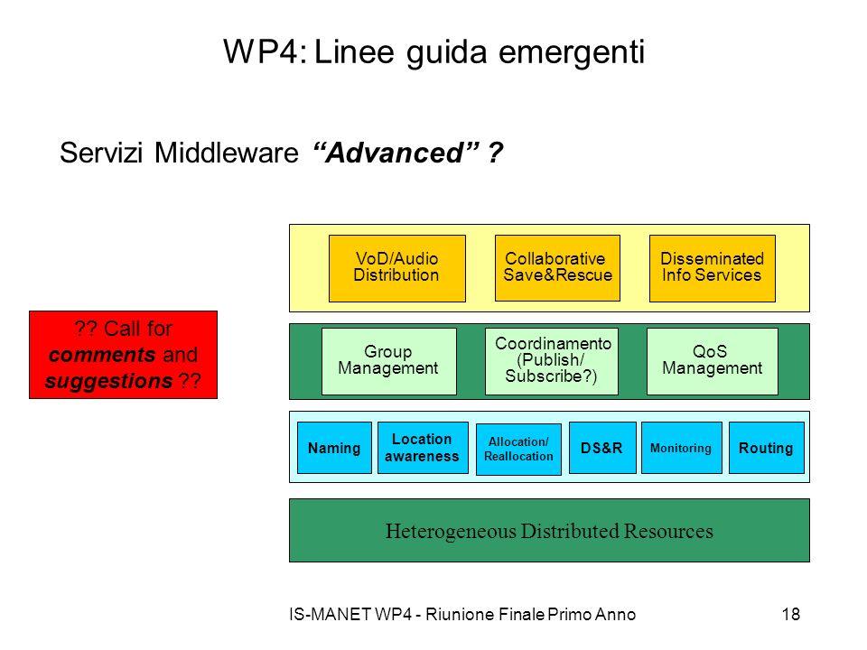IS-MANET WP4 - Riunione Finale Primo Anno18 WP4: Linee guida emergenti Servizi Middleware Advanced ? Heterogeneous Distributed Resources Collaborative