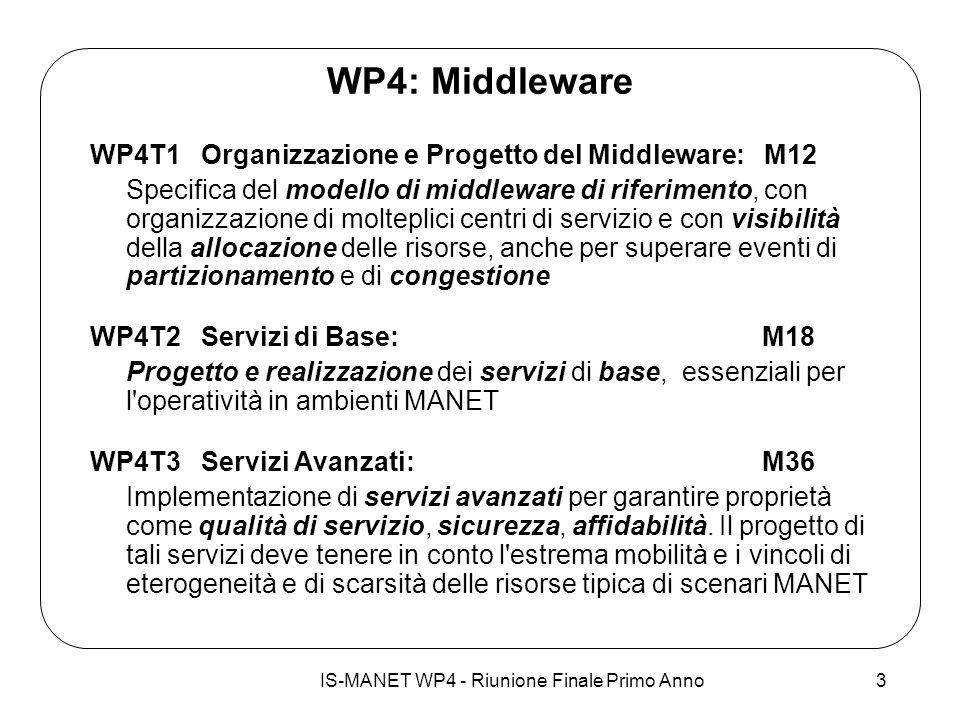 IS-MANET WP4 - Riunione Finale Primo Anno3 WP4: Middleware WP4T1 Organizzazione e Progetto del Middleware: M12 Specifica del modello di middleware di