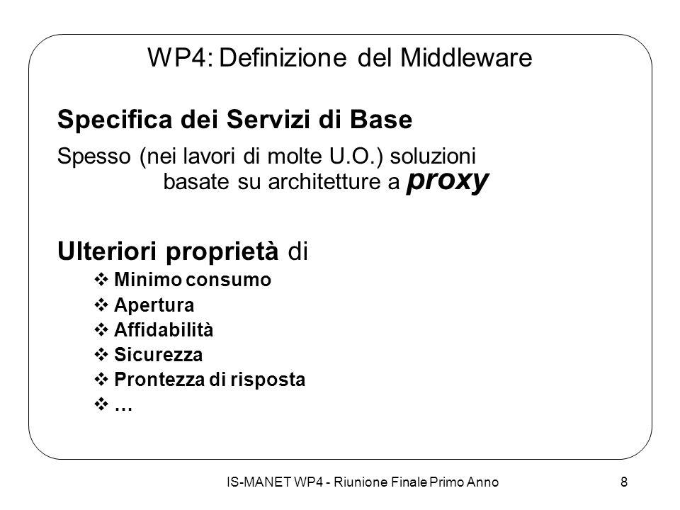 IS-MANET WP4 - Riunione Finale Primo Anno8 WP4: Definizione del Middleware Specifica dei Servizi di Base Spesso (nei lavori di molte U.O.) soluzioni b