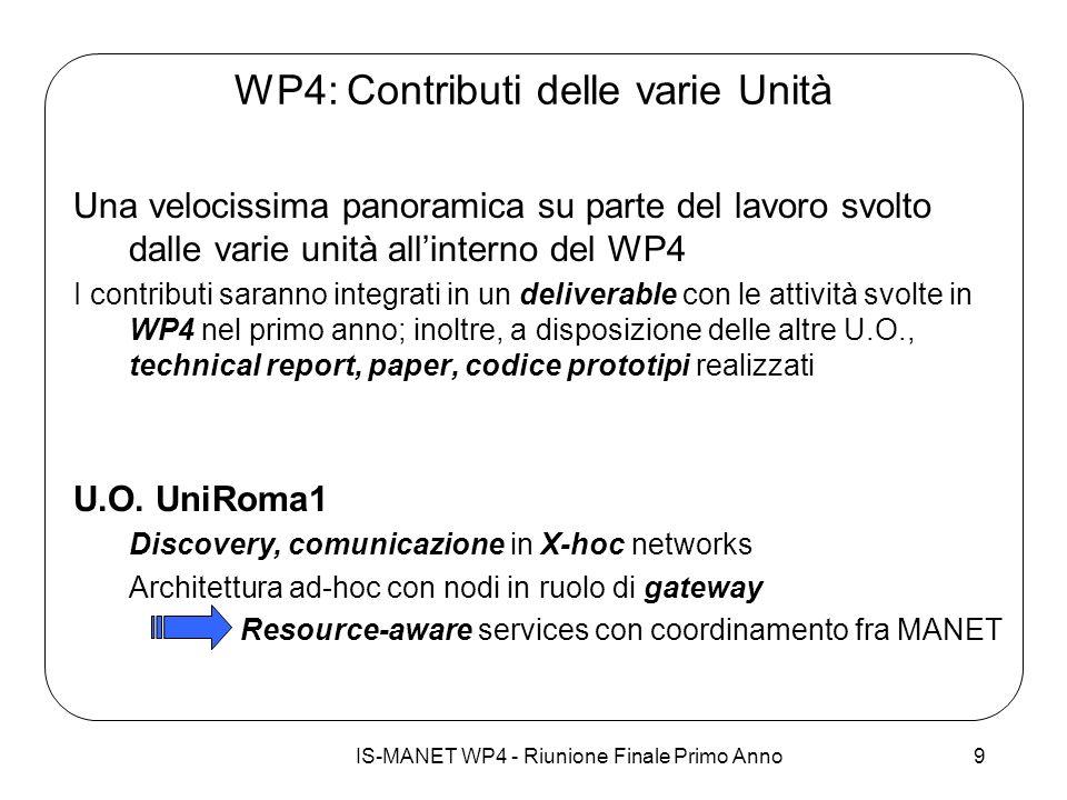 IS-MANET WP4 - Riunione Finale Primo Anno9 WP4: Contributi delle varie Unità Una velocissima panoramica su parte del lavoro svolto dalle varie unità a