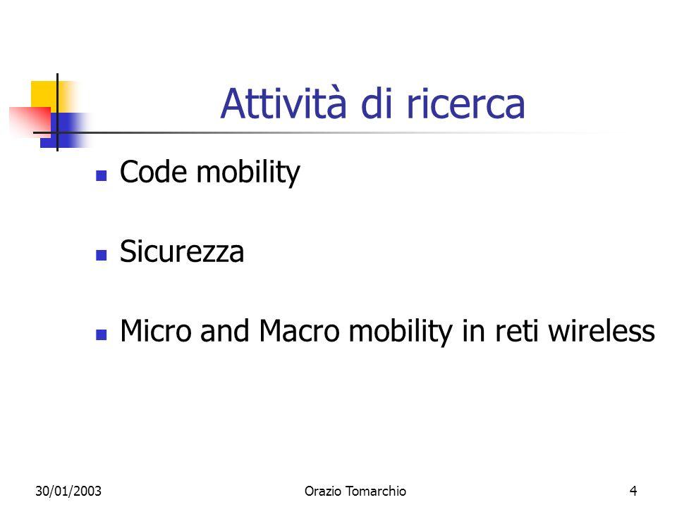 30/01/2003Orazio Tomarchio5 Attività di ricerca (1a) Code mobility Sviluppo di una piattaforma ad agenti mobili Interoperabilità tra agenti e sistemi legacy (CORBA) Supporto per nomadic computing Sicurezza