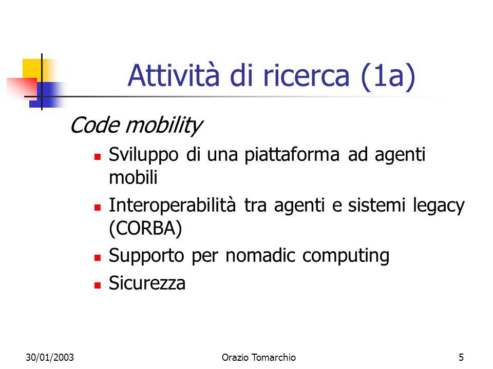 30/01/2003Orazio Tomarchio6 Attività di ricerca (1b) Code mobility - applicazioni Network management QoS management Adaptation of multimedia services (Vesper)