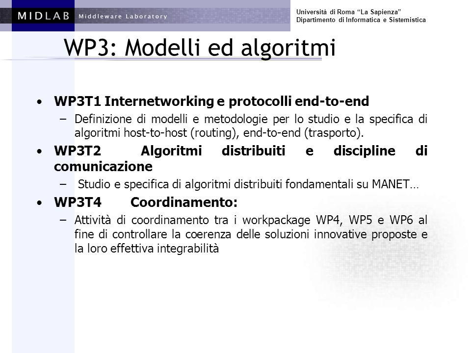 Università di Roma La Sapienza Dipartimento di Informatica e Sistemistica WP3: Modelli ed algoritmi WP3T1 Internetworking e protocolli end-to-end –Definizione di modelli e metodologie per lo studio e la specifica di algoritmi host-to-host (routing), end-to-end (trasporto).