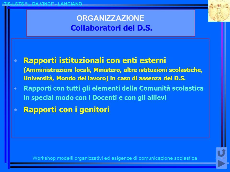 Workshop modelli organizzativi ed esigenze di comunicazione scolastica ITIS-LSTS L. DA VINCI - LANCIANO ORGANIZZAZIONE Collaboratori del D.S. Rapporti