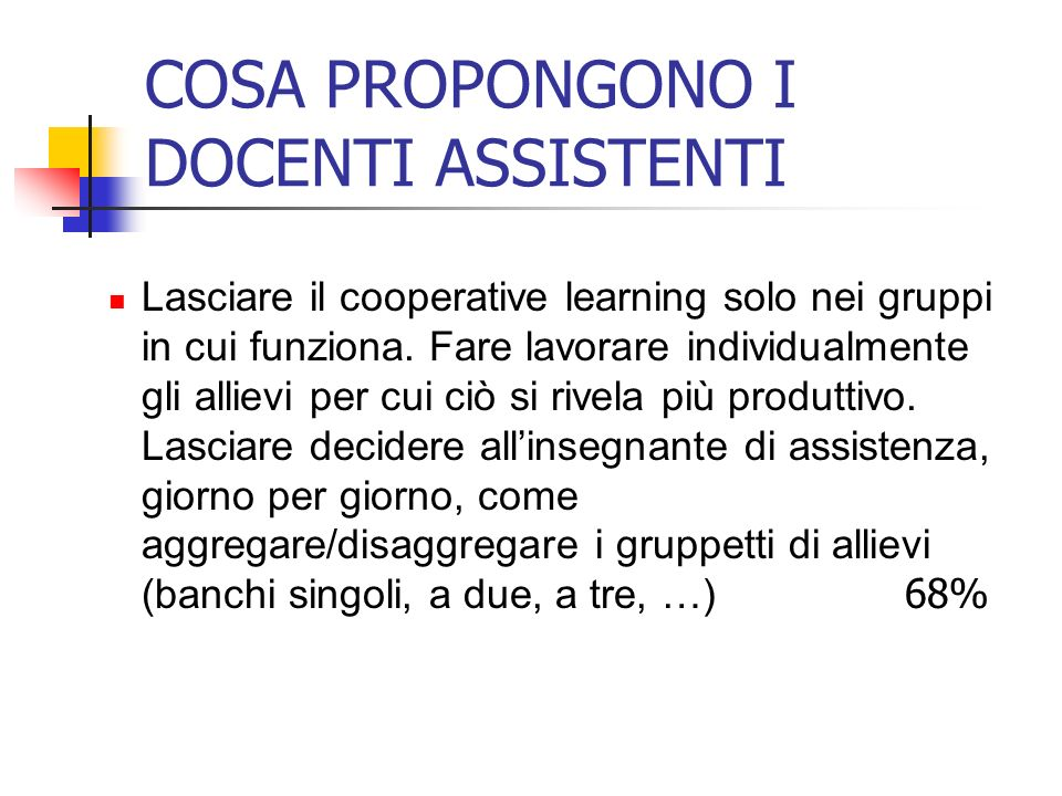 COSA PROPONGONO I DOCENTI ASSISTENTI Lasciare il cooperative learning solo nei gruppi in cui funziona. Fare lavorare individualmente gli allievi per c