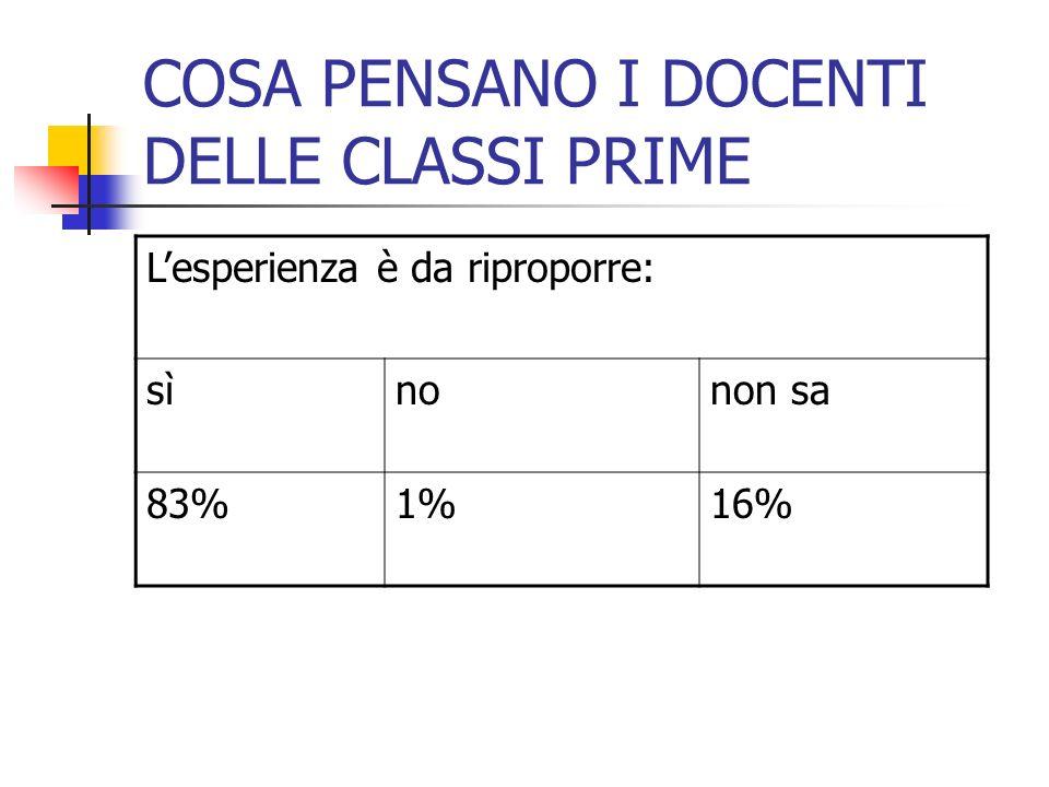 COSA PENSANO I DOCENTI DELLE CLASSI PRIME Lesperienza è da riproporre: sìnonon sa 83%1%16%