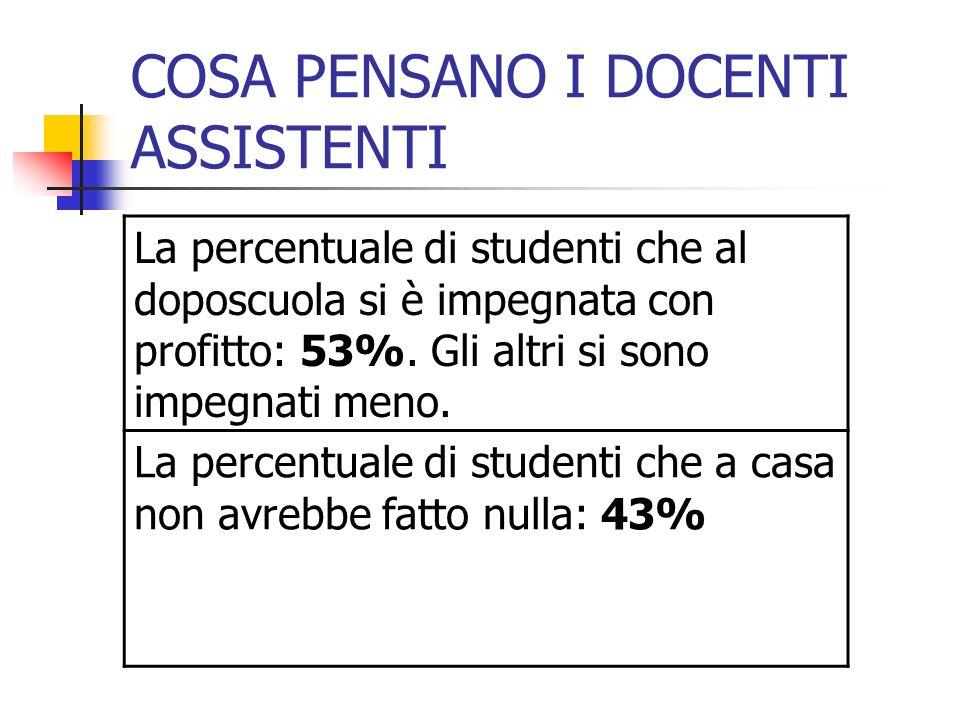 COSA PENSANO I DOCENTI ASSISTENTI La percentuale di studenti che al doposcuola si è impegnata con profitto: 53%.