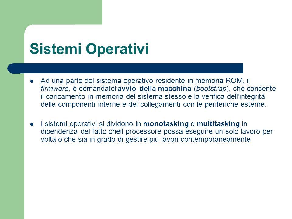 Sistemi Operativi Ad una parte del sistema operativo residente in memoria ROM, il firmware, è demandatolavvio della macchina (bootstrap), che consente