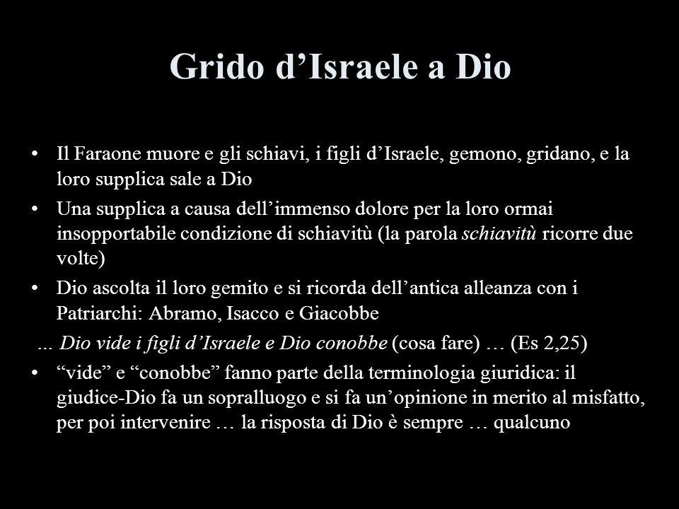 Grido dIsraele a Dio Il Faraone muore e gli schiavi, i figli dIsraele, gemono, gridano, e la loro supplica sale a Dio Una supplica a causa dellimmenso