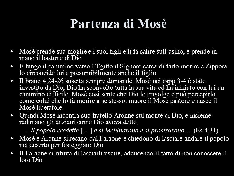 Partenza di Mosè Mosè prende sua moglie e i suoi figli e li fa salire sullasino, e prende in mano il bastone di Dio E lungo il cammino verso lEgitto i