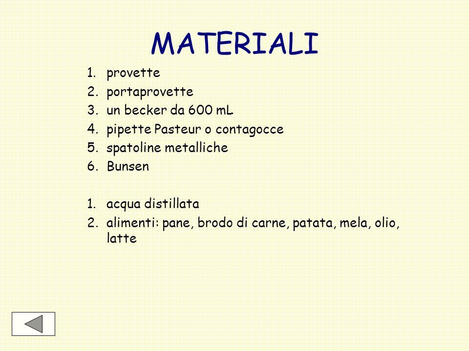 MATERIALI 1.provette 2.portaprovette 3.un becker da 600 mL 4.pipette Pasteur o contagocce 5.spatoline metalliche 6.Bunsen 1.acqua distillata 2.aliment