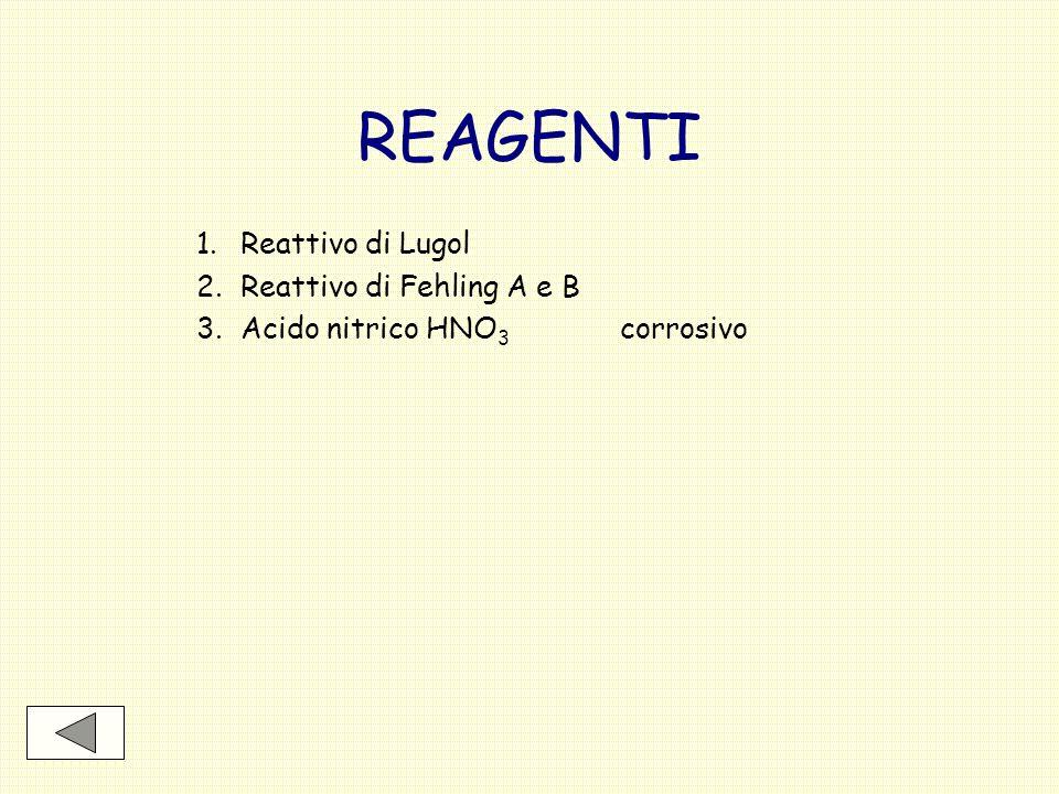 REAGENTI 1.Reattivo di Lugol 2.Reattivo di Fehling A e B 3.Acido nitrico HNO 3 corrosivo