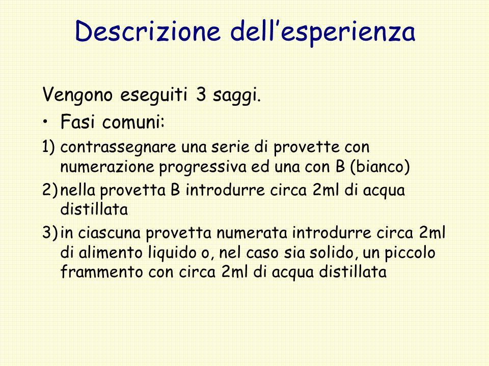 Descrizione dellesperienza Vengono eseguiti 3 saggi. Fasi comuni: 1)contrassegnare una serie di provette con numerazione progressiva ed una con B (bia