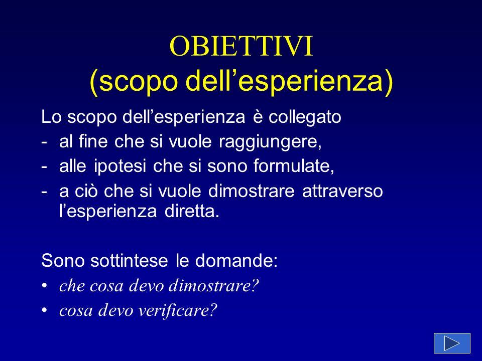 Descrizione dellesperienza Vengono eseguiti 3 saggi.