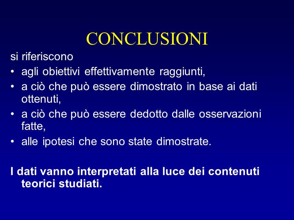 Conclusioni (continuaz.) I dati anomali vanno motivati o si ipotizzano motivazioni.