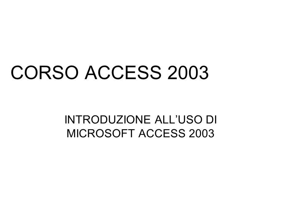 CORSO ACCESS 2003 INTRODUZIONE ALLUSO DI MICROSOFT ACCESS 2003
