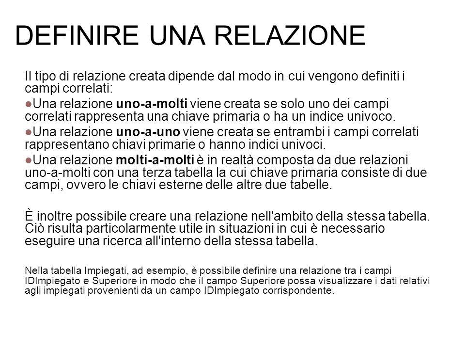 DEFINIRE UNA RELAZIONE Il tipo di relazione creata dipende dal modo in cui vengono definiti i campi correlati: Una relazione uno-a-molti viene creata