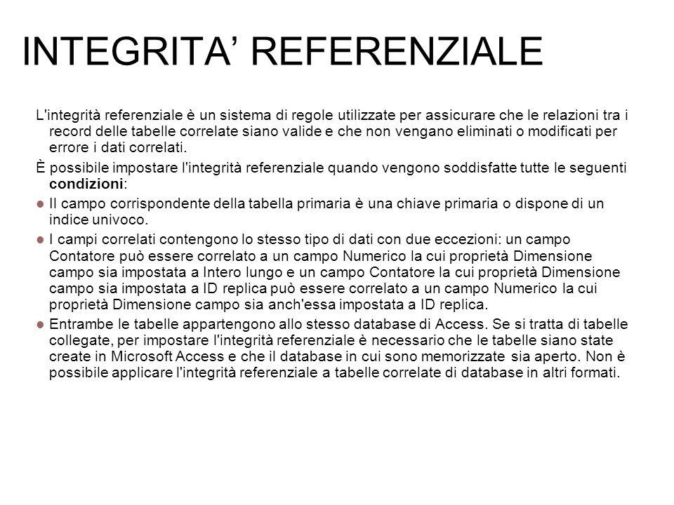 INTEGRITA REFERENZIALE L'integrità referenziale è un sistema di regole utilizzate per assicurare che le relazioni tra i record delle tabelle correlate