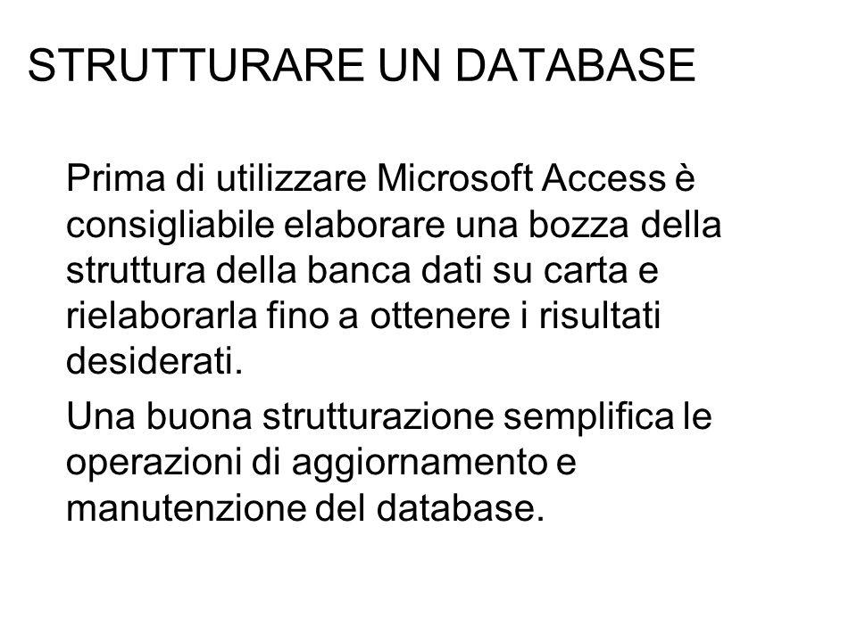 SCOPO DEL DATABASE Il primo passaggio per la strutturazione di un database consiste nel determinarne lo scopo e le modalità di utilizzo: Consultare gli utenti che utilizzeranno il database per individuare le esigenze che dovranno essere soddisfatte.