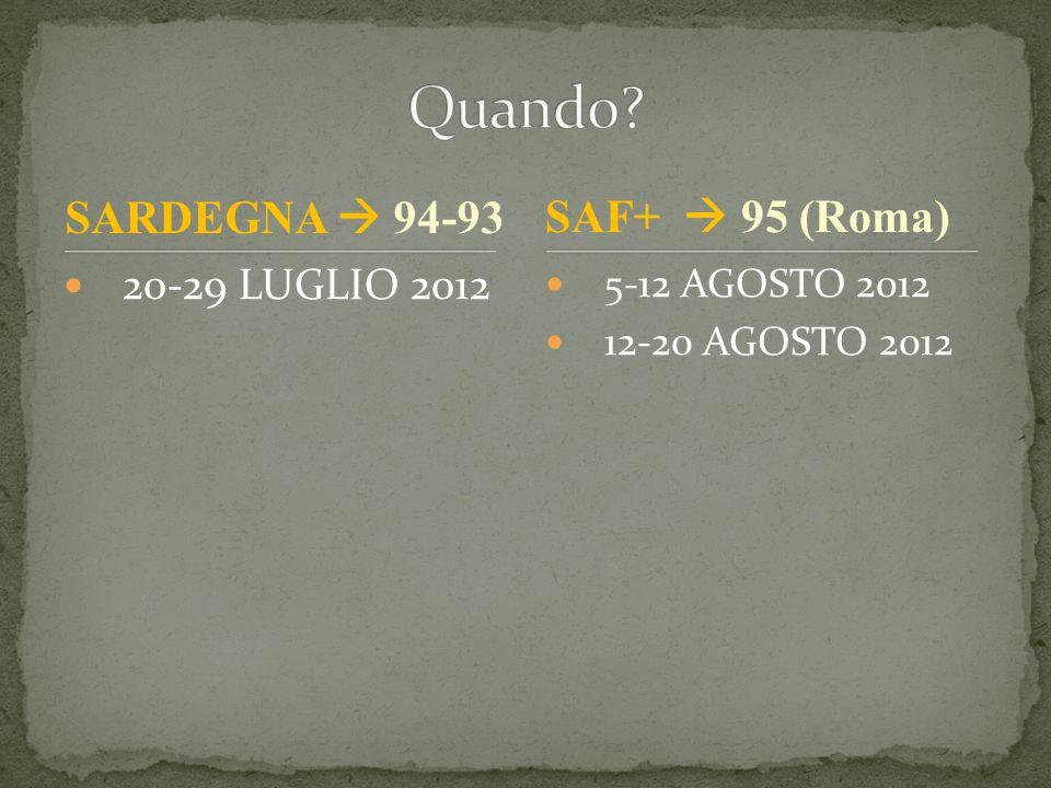 20-29 LUGLIO 2012 5-12 AGOSTO 2012 12-20 AGOSTO 2012 SAF+ 95 (Roma) SARDEGNA 94-93