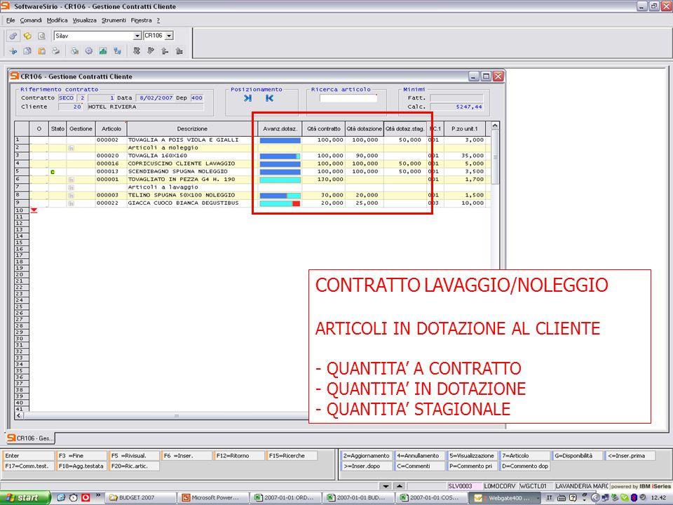 13 febbrario 2007 CONTRATTO LAVAGGIO/NOLEGGIO ARTICOLI IN DOTAZIONE AL CLIENTE - QUANTITA A CONTRATTO - QUANTITA IN DOTAZIONE - QUANTITA STAGIONALE