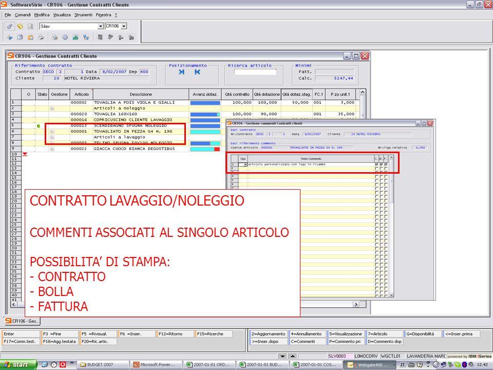 13 febbrario 2007 CONTRATTO LAVAGGIO/NOLEGGIO COMMENTI ASSOCIATI AL SINGOLO ARTICOLO POSSIBILITA DI STAMPA: - CONTRATTO - BOLLA - FATTURA