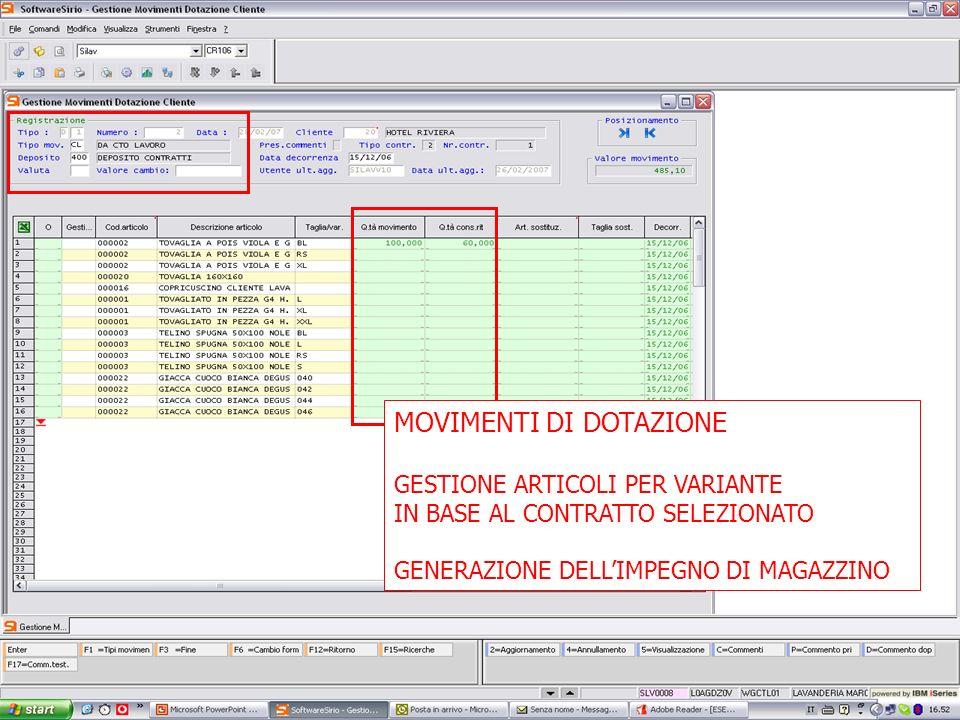 13 febbrario 2007 MOVIMENTI DI DOTAZIONE GESTIONE ARTICOLI PER VARIANTE IN BASE AL CONTRATTO SELEZIONATO GENERAZIONE DELLIMPEGNO DI MAGAZZINO